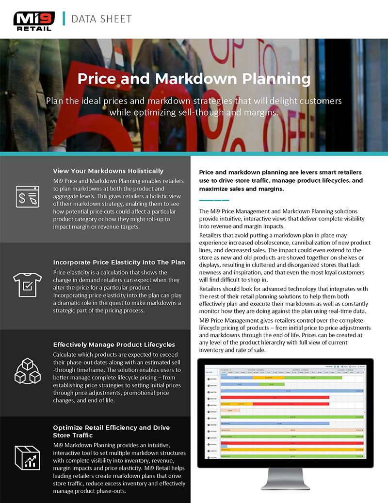 Price and Markdown Planning Data Sheet